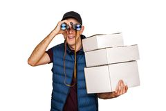 Delivery man with mail and binoculars isolated Stock Images