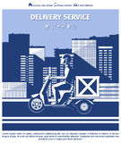 Delivery man on motorcycle Stock Image