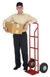 Delivery Man, Moving, Freight, Shipping, Package. Eye catching image of a man for the concept of delivery, moving, freight, shipping, or just sending a package Stock Images