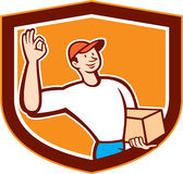 Delivery Man Okay Sign Shield Cartoon Stock Photography
