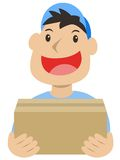 Delivery man. Package box smiling delivery man Royalty Free Stock Photography