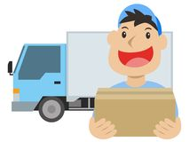 Delivery man. Package box smiling delivery man with truck Stock Image