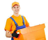 Delivery man with package Stock Photos