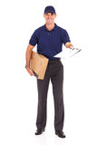 Delivery man parcel. Delivery man carrying a parcel and presenting receiving form for signing stock photos