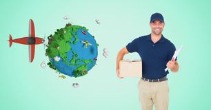Delivery man with parcel by low poly earth and plane Stock Photo