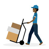 Delivery man with parcel on truck. Delivery man with parcel on truck, trolley.  Fast transportation.  african american cartoon character on white background Royalty Free Stock Photo