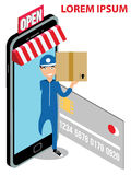 Delivery Man and Parcels Appeared From Smartphone Stock Image