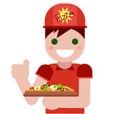 Delivery. Man with pizza. Delicious hot fastfood Royalty Free Stock Photo