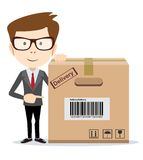 Delivery man is pointing to a box. Vector Royalty Free Stock Photo