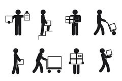 Delivery man poses vector. Delivery man poses. Courier worker, merchandise and package, receive and send. Delivery man pictogram, delivery vector icons Stock Image