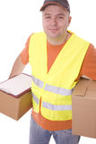 Delivery man  in reflective waistcoat Royalty Free Stock Photo