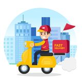 Delivery man ride motorcycle service. Fast and free transport. Stock Photography