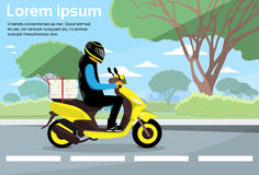 Delivery Man Ride Scooter Motorcycle Deliver Service Royalty Free Stock Photos