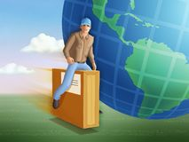 Delivery man riding a flying package. stock illustration