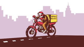 Delivery Man Riding Motorcycle Bike Retro stock video