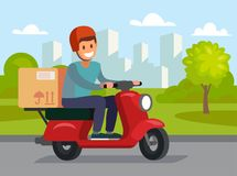 Delivery man riding red motor bike. Royalty Free Stock Images