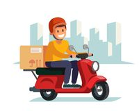 Delivery man riding red motor bike. Flat illustration Stock Photography