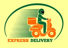 Delivery man riding a scooter. Express delivery, logo design. Vector illustration royalty free illustration