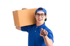 Delivery man ring the bell Stock Image
