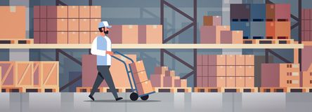 Delivery man rolling cardboard box cargo trolley pushcart courier carrying parcels on hand truck warehouse room interior. Flat horizontal banner vector vector illustration