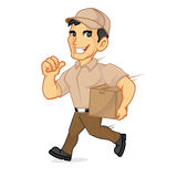 Delivery man running delivering package. Isolated in white background Stock Photo