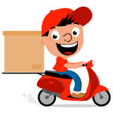 Delivery man in scooter Royalty Free Stock Image