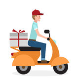 Delivery man on scooter. Royalty Free Stock Photos