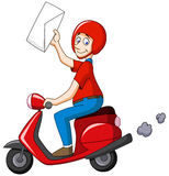 Delivery man on scooter Royalty Free Stock Image