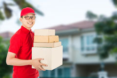 Delivery man service delivery packaging box Stock Images