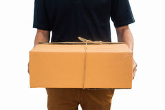 Delivery man service sent a package box. isolated white background royalty free stock photos