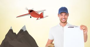 Delivery man showing clipboard against 3d plane Stock Photos