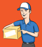 Delivery man smiling with box Royalty Free Stock Photos