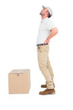 Delivery man suffering from backache o Royalty Free Stock Photo