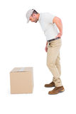 Delivery man suffering from backache royalty free stock images