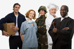 Delivery man surgeon soldier chef and judge Royalty Free Stock Photography
