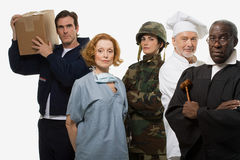 Delivery man surgeon soldier chef and judge Stock Images