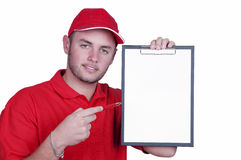 Delivery man with a tablet Stock Photos