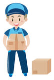 Delivery man with two cardboard boxes stock illustration