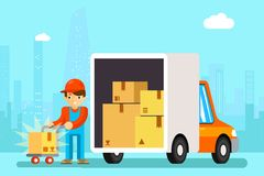 Delivery man unload delivery car boxes Stock Images