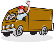Delivery Man Waving Driving Van Cartoon Royalty Free Stock Photo