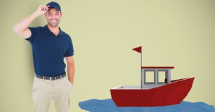 Delivery man wearing cap by 3d boat Stock Photos