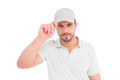 Delivery man wearing cap Royalty Free Stock Image