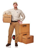 Delivery man on white Stock Photo