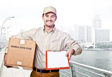 Delivery man worker Royalty Free Stock Image