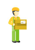 Delivery man Worker holds package in his hands. Stock Photos