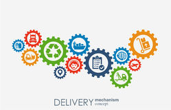 Delivery mechanism concept. Abstract background with connected gears and icons for logistic, strategy, service, shipping Stock Photo