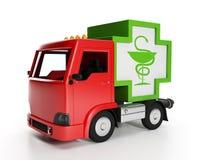 Delivery of medical supplie. 3d illustration: Truck and medicine. Delivery of medical supplies Royalty Free Stock Images