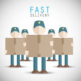 Delivery men holding packages Royalty Free Stock Photos
