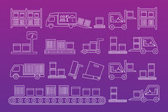 Delivery mono line icon set Stock Images