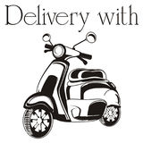 Delivery with moped. Black and white moped with words delivery with Royalty Free Stock Images